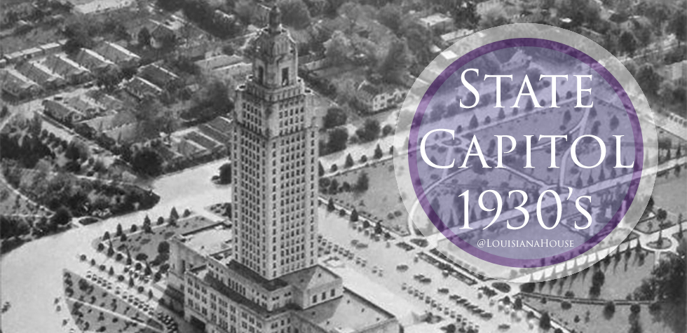 Historical aerial view of the Louisiana State Capitol